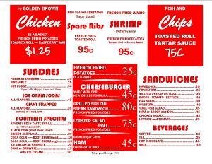 Car hop menu inside