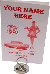 Custom Name Car Hop 50's Menu and Holder