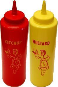 fake food mustard and ketchup