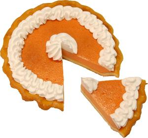 Pumpkin Pie Cream Artificial Pie with Slice