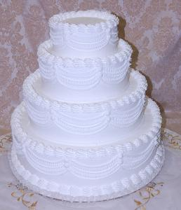 Wedding Fake Cake White Four Tier Stacked 20 Inch