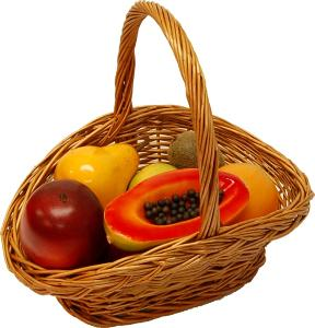 Fake Assorted Fruits 14 Piece with Willow Handle Basket