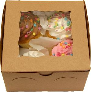 Fake Cupcakes 4 Pack Assorted Cupcakes Gift Box U.S.A.