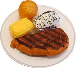 Steak Dinner Plate fake food USA