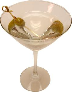 Martini with Olive Glass Fake Drink