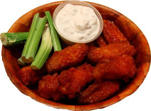 Fake Buffalo Wings Red Sauce 12 Piece Wood Bowl