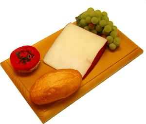 Fontina Wedge Fake Cheese Combo on Wood Board USA