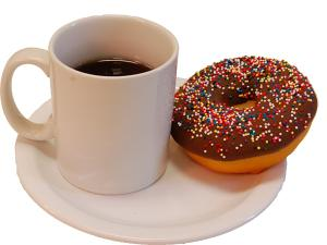 Coffee And Doughnut On Plate USA