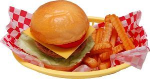 Cheeseburger and French Fries Basket Fake Food