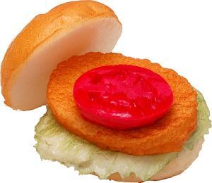Chicken - Fish Fake Food Sandwich open