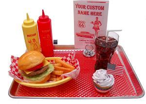 Car Hop Fake Food Large Tray Cheeseburger Set