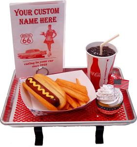Small Car Hop Fake Food Tray Hot Dog Set