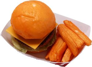 Cheeseburger and fries tray