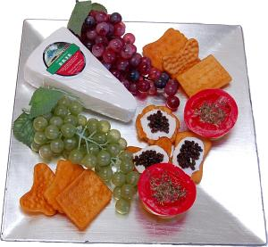 Cheese Tray crackers hors d'oeuvre and grapes fake food USA