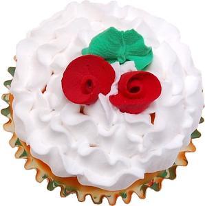 Christmas Rose Fake Cupcake top