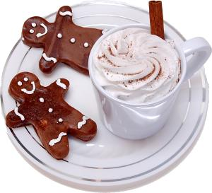 Fake Hot Chocolate Plastic Mug and Gingerbread Cookies on Plate top