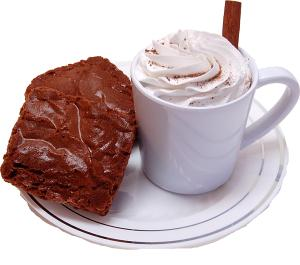 Fake Hot Chocolate Plastic Mug and Brownies on Plate