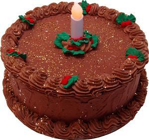 """LED Candle 9"""" Christmas Holly Chocolate Fake Cake"""