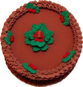 Christmas Holly Chocolate Fake Cake Top