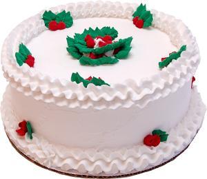 "9"" Christmas Holly Vanilla Fake Cake"