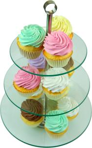 13 Piece Tempered Glass Stand with Fake Plain Cupcakes