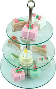 13 Piece Tempered Glass Stand with Fake Petit Fours