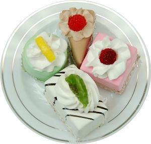 Mini Fruit Fakey Cakes 4 pack Petit Fours Plate
