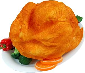 Turkey Baked Fake Food Oval White Tray B