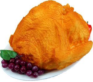 Turkey Baked Fake Food Oval White Tray C