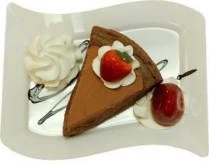 Chocolate Cake and Strawberry Fake Dessert Plate TOP