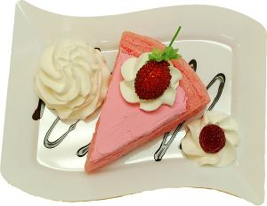 Raspberry Cake and Strawberry Fake Dessert Plate TOP