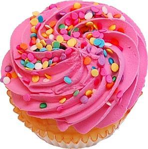 Strawberry Sprinkle Fake Cupcake top