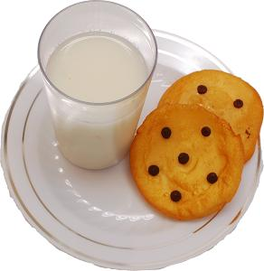 Santa's Fake Chocolate Chip Cookies and Milk on Plate top