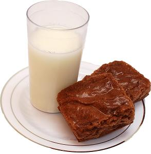Fake Milk and Brownies on plate