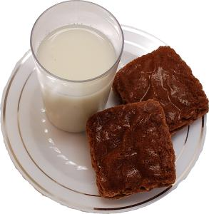 Fake Milk and Brownies on plate top