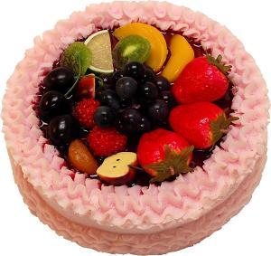 Pink Fake Fruit Cake 9 inch top