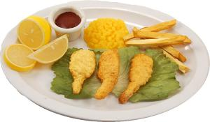 Fake Fried Shrimp plate with Corn and Fries USA