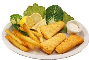 Fish and Chips fake food plate USA