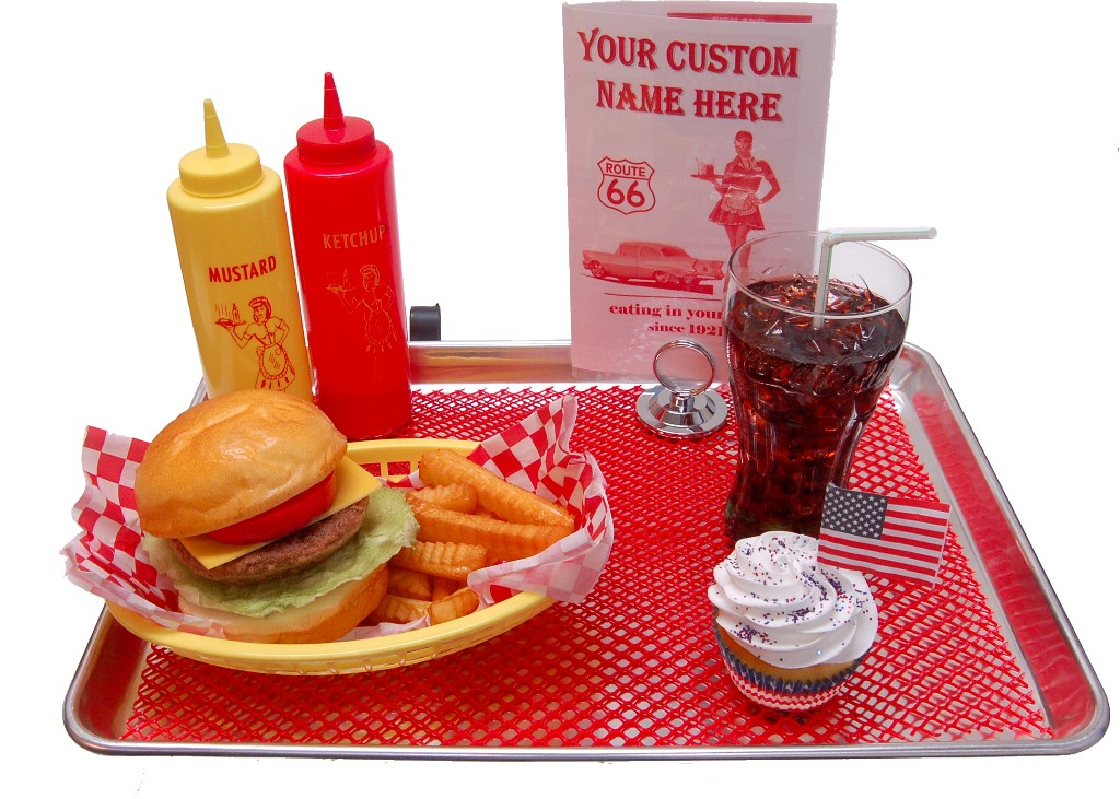 fake food cheeseburger coke car hop large tray