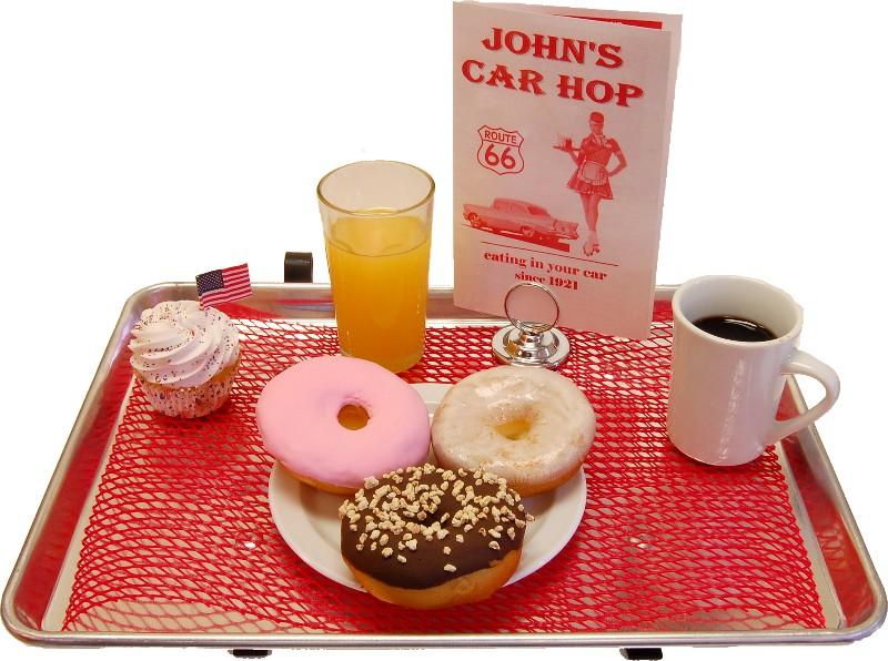 car hop fake food donuts tray