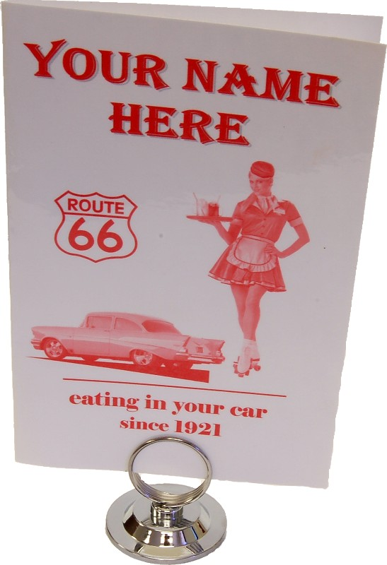 car hop menu and holder