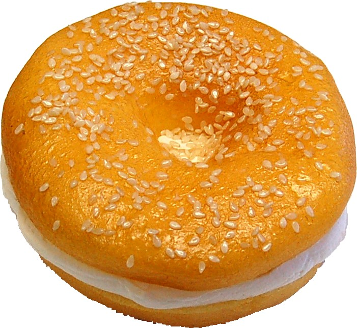 fake food cream cheese bagel sesame seed