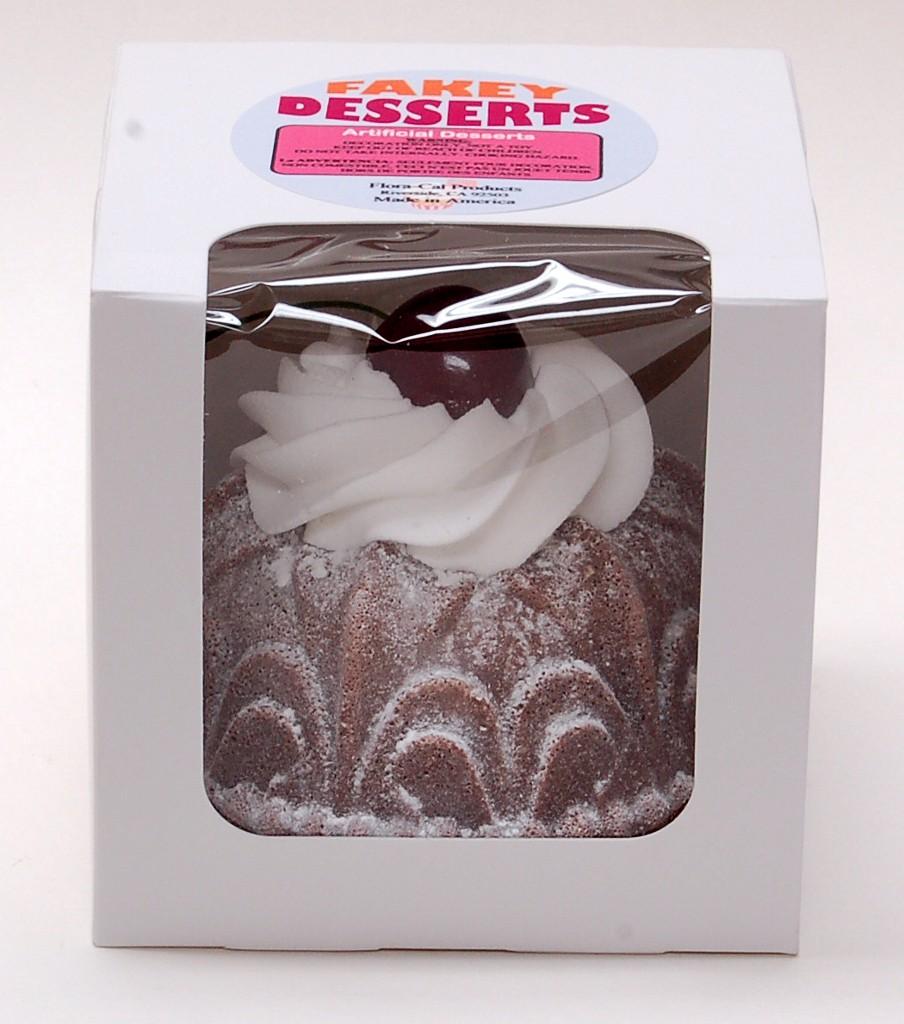 Small Bundt Cake Chocolate Cherry Fake Dessert with box