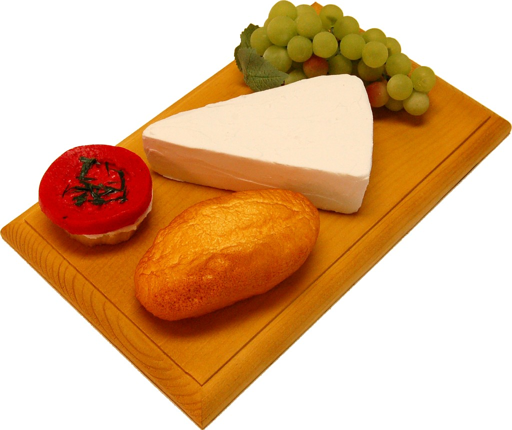 Brie Wedge Fake Cheese Combo on Board