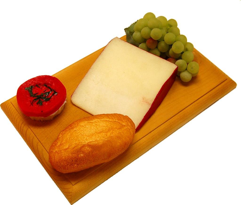 Fontina Wedge Fake Cheese Combo on Wood Board