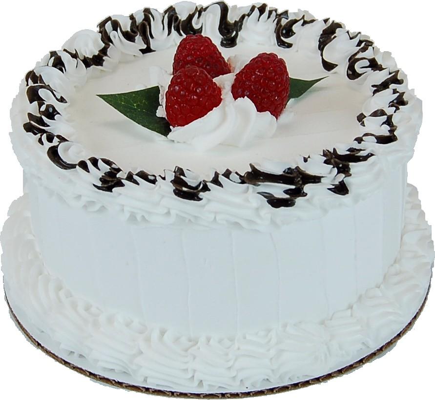 "Vanilla 6"" Raspberry Drizzle Fake Cake  side"