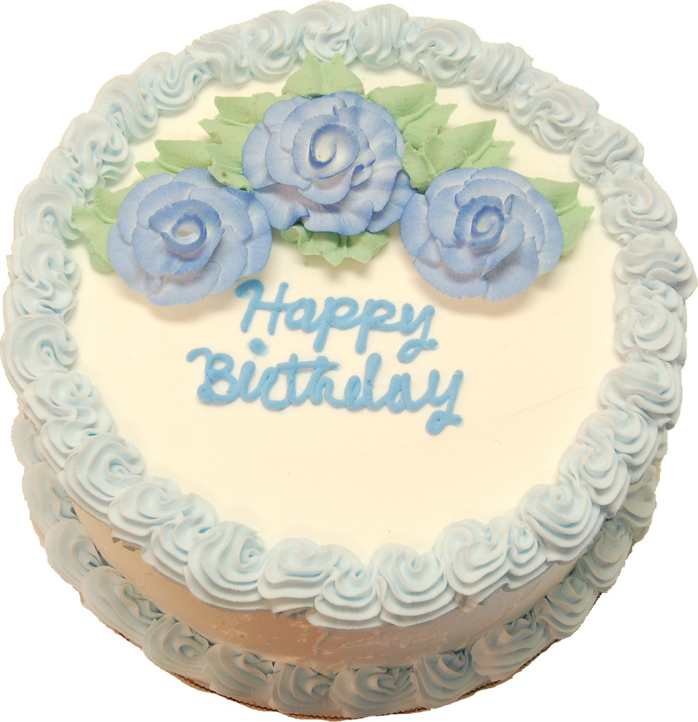 "Blue Birthday Cake 9 Inch With ""Happy Birthday Text"". High"