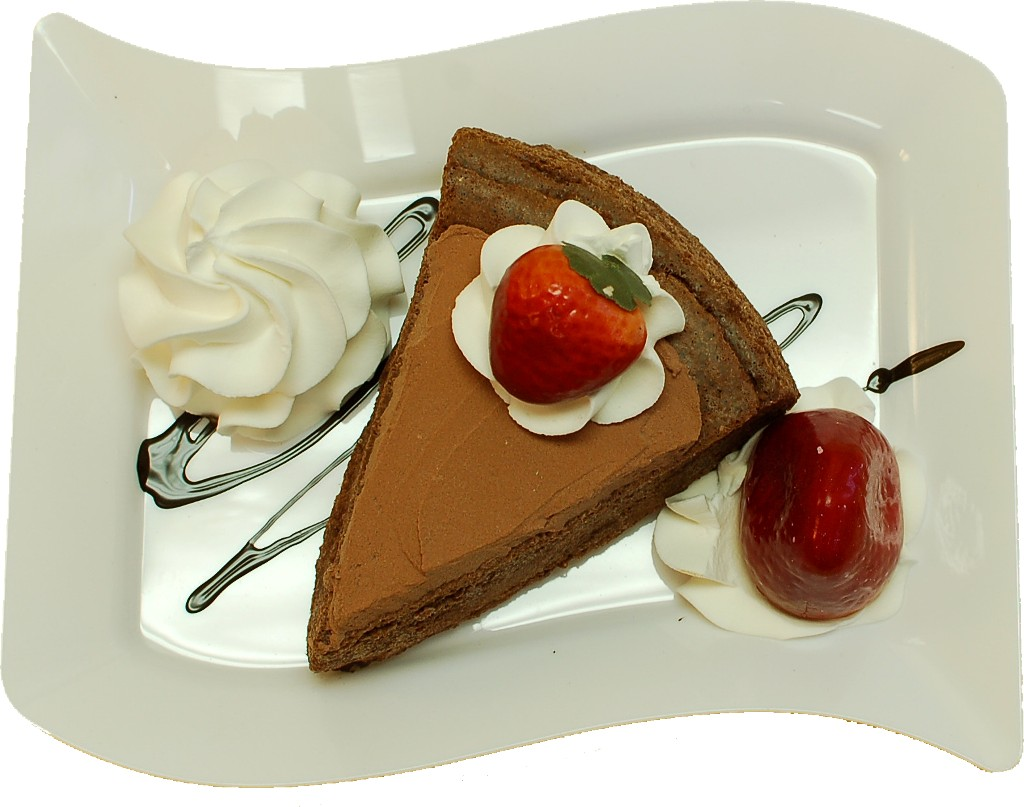 Chocolate Cake and Strawberry Fake Dessert Plate TOP