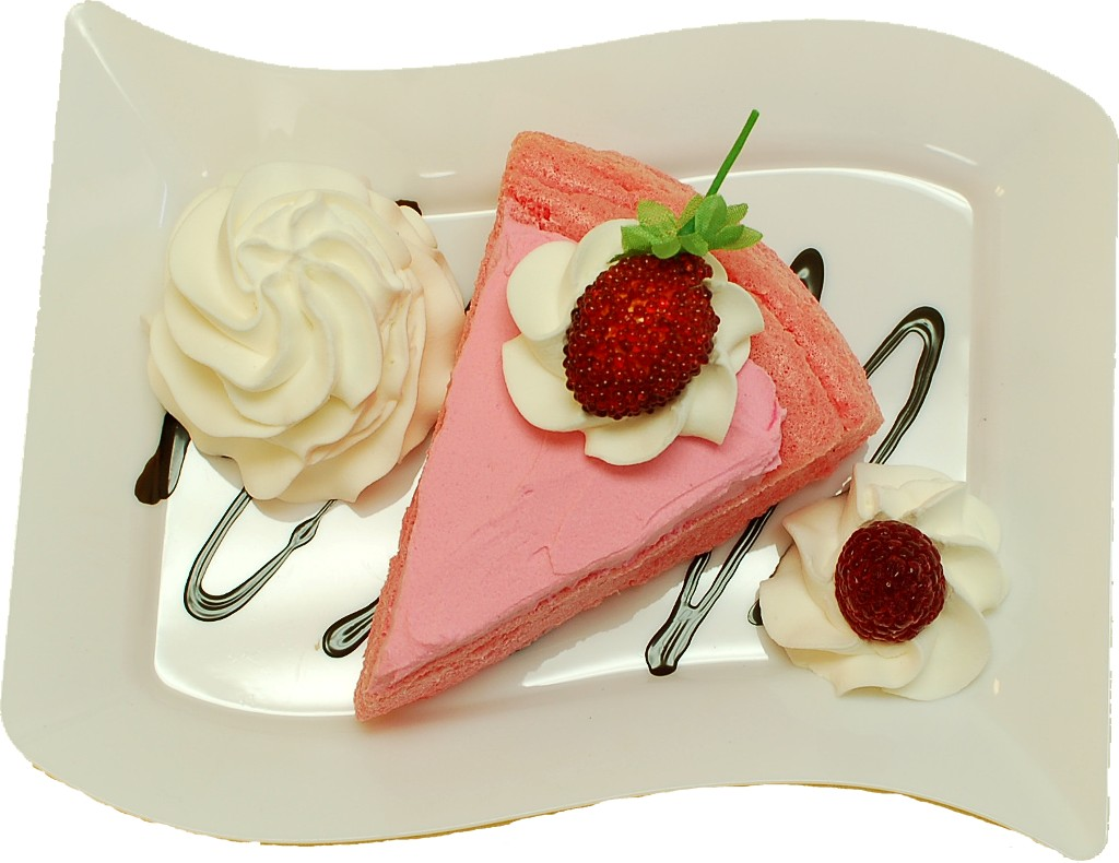 Raspberry Cake and Strawberry Fake Dessert Plate TOP