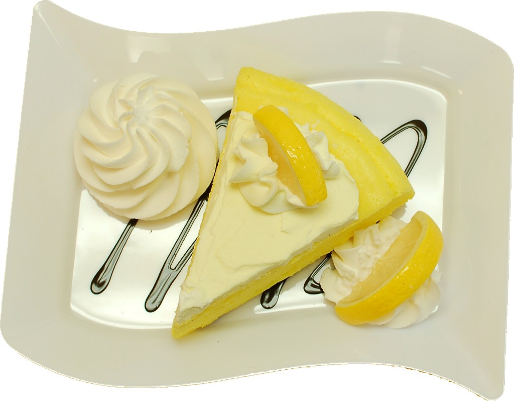 Lemon Cake and Strawberry Fake Dessert Plate TOP